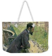 Man On A Balcony Weekender Tote Bag by Gustave Caillebotte