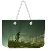 Man On Stairs With Case In Fog Weekender Tote Bag