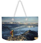 Man Overlooking Olympus Range Antarctica Weekender Tote Bag