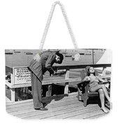 Man Photographs Sleeping Girl Weekender Tote Bag