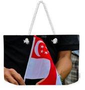 Man Plants Singapore Flag On Bicycle Weekender Tote Bag