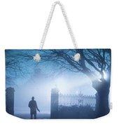Man Standing In Foggy Gateway At Night Weekender Tote Bag