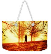 Man Standing In Front Of A Blazing Forest Fire Weekender Tote Bag