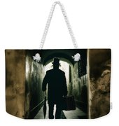 Back View Of A Victorian Man Wearing Top Hat And Long Coat In The Alley Weekender Tote Bag