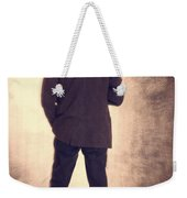 Man With Vintage Umbrella Weekender Tote Bag