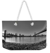 Manhattan And Brooklyn Bridge Fisheye Bw Weekender Tote Bag
