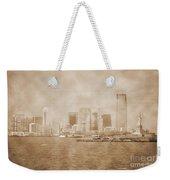 Manhattan And Liberty Island Vintage Weekender Tote Bag