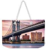 Manhattan Bridge Under A Purple Sunset Weekender Tote Bag