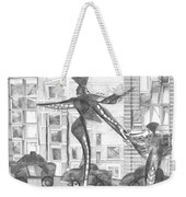 Manhattan Mother Hailing Cab With Daughter Weekender Tote Bag