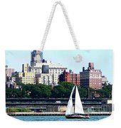 Manhattan - Sailboat Against Manhatten Skyline Weekender Tote Bag