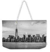 Manhattan Skyline Black And White Weekender Tote Bag