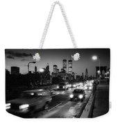 Manhattan Skyline Dusk 1980s Weekender Tote Bag