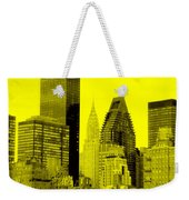 Manhattan Skyline In Yellow Weekender Tote Bag