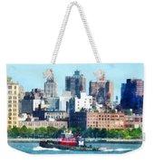 Manhattan - Tugboat Against Manhattan Skyline Weekender Tote Bag