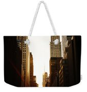 Manhattanhenge Sunset And The Chrysler Building  Weekender Tote Bag
