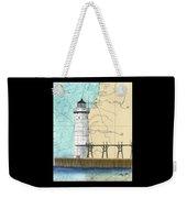Manistee N Pierhead Lighthouse Mi Nautical Chart Map Art Weekender Tote Bag