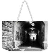 Man's Silhouette In Urban Tunnel Black And White Weekender Tote Bag