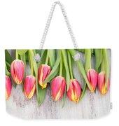 Many Spring Tulip Flowers On White Wood Table Weekender Tote Bag