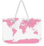 Map In Pink Stripes Weekender Tote Bag