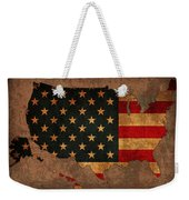 Map Of America United States Usa With Flag Art On Distressed Worn Canvas Weekender Tote Bag