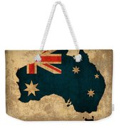 Map Of Australia With Flag Art On Distressed Worn Canvas Weekender Tote Bag