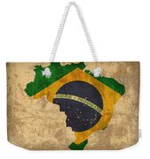 Map Of Brazil With Flag Art On Distressed Worn Canvas Weekender Tote Bag