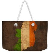 Map Of Ireland With Flag Art On Distressed Worn Canvas Weekender Tote Bag