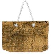 Map Of Kansas City Missouri Vintage Old Street Cartography On Worn Distressed Canvas Weekender Tote Bag
