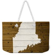 Map Of Maine State Outline White Distressed Paint On Reclaimed Wood Planks. Weekender Tote Bag