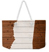 Map Of Mississippi State Outline White Distressed Paint On Reclaimed Wood Planks. Weekender Tote Bag
