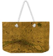 Map Of Portland Oregon City Street Schematic Cartography Circa 1924 On Worn Parchment  Weekender Tote Bag