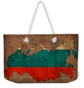 Map Of Russia With Flag Art On Distressed Worn Canvas Weekender Tote Bag