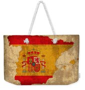 Map Of Spain With Flag Art On Distressed Worn Canvas Weekender Tote Bag by Design Turnpike