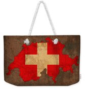 Map Of Switzerland With Flag Art On Distressed Worn Canvas Weekender Tote Bag by Design Turnpike
