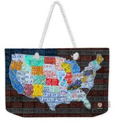 Map Of The United States In Vintage License Plates On American Flag Weekender Tote Bag by Design Turnpike