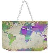 Map Of The World - Plaid Watercolor Splatter Weekender Tote Bag