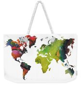 Map Of The World Red Green Weekender Tote Bag