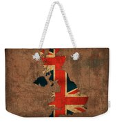 Map Of United Kingdom With Flag Art On Distressed Worn Canvas Weekender Tote Bag