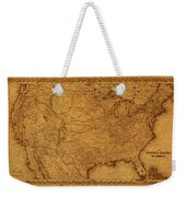 Map Of United States Of America Vintage Schematic Cartography Circa 1855 On Worn Parchment  Weekender Tote Bag