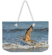 Marbled Godwit Taking Off On Beach Weekender Tote Bag