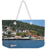 Marina Bay Scene With Boat And Houses On Hills Weekender Tote Bag
