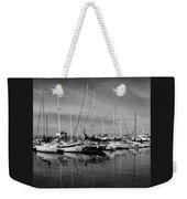 Marina Boats In Victoria British Columbia Black And White Weekender Tote Bag