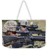 Marines And Sailors Wait For A Ch-53e Weekender Tote Bag