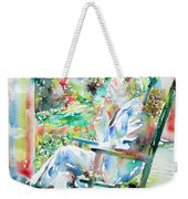 Mark Twain Sitting And Smoking A Cigar - Watercolor Portrait Weekender Tote Bag by Fabrizio Cassetta