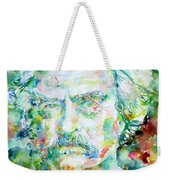 Mark Twain - Watercolor Portrait Weekender Tote Bag by Fabrizio Cassetta