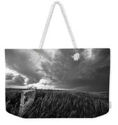 Marker - Black And White Photo Of Stone Marker And Brewing Storm In Kansas Weekender Tote Bag