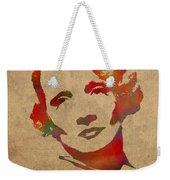 Marlene Dietrich Movie Star Watercolor Painting On Worn Canvas Weekender Tote Bag