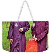 Maroon-robed Monks At Buddhist University In Chiang Mai-thailand Weekender Tote Bag