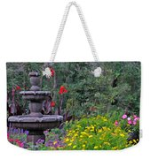Garden Fountain And Flowers Weekender Tote Bag