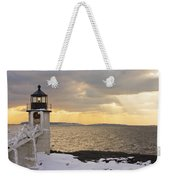 Marshall Point Lighthouse In Winter Maine  Weekender Tote Bag